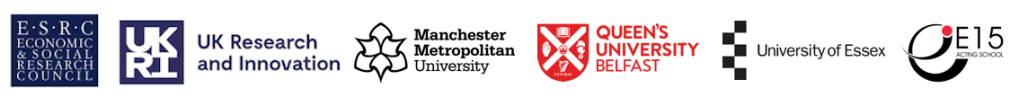 Logos of: Economic and Social Research Council; UK Research and Innovation; Manchester Metropolitan University; Queen's University Belfast, University of Essex; East 15 Acting School